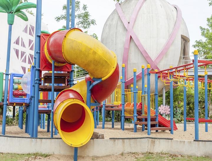 Modern  area for children playground in park .