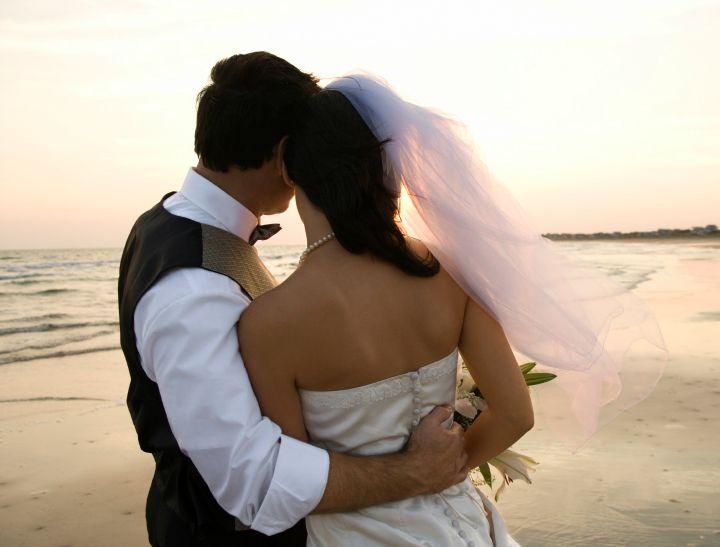 back of wedding couple