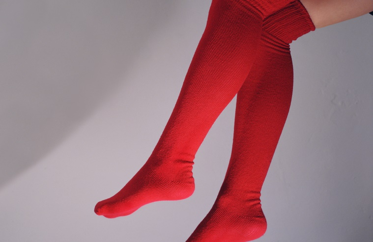 67 chrome color scan of women's legs with stockings