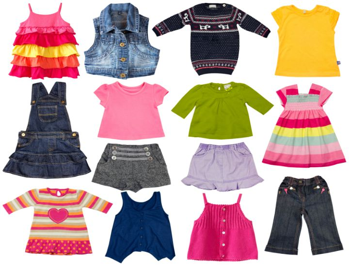 Children clothes collage.Kids fashion clothing isolated on white.