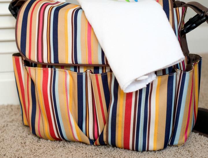 stripey baby bag