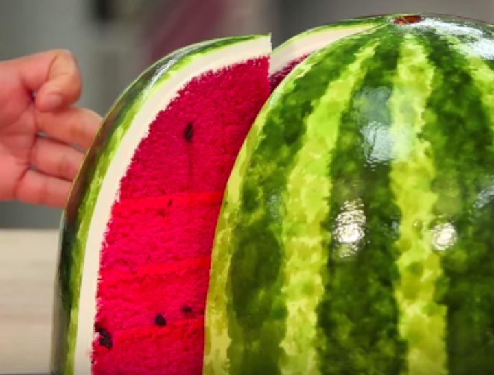 watermelon cake close up